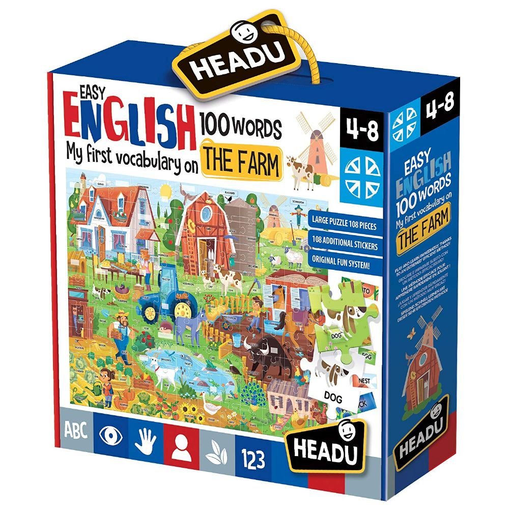 HEADU Learn Farm Vocabulary 100 Words Kids Children Educational Jigsaw Puzzle